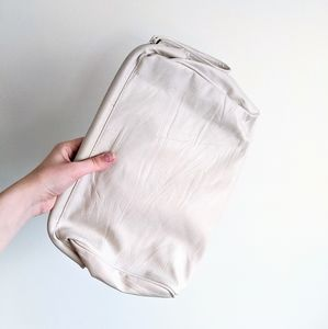 Vtg 80s Cream Leather Puffy Oversized Clutch Purse